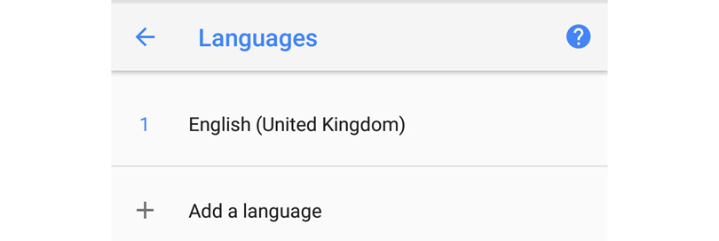 Language settings Android