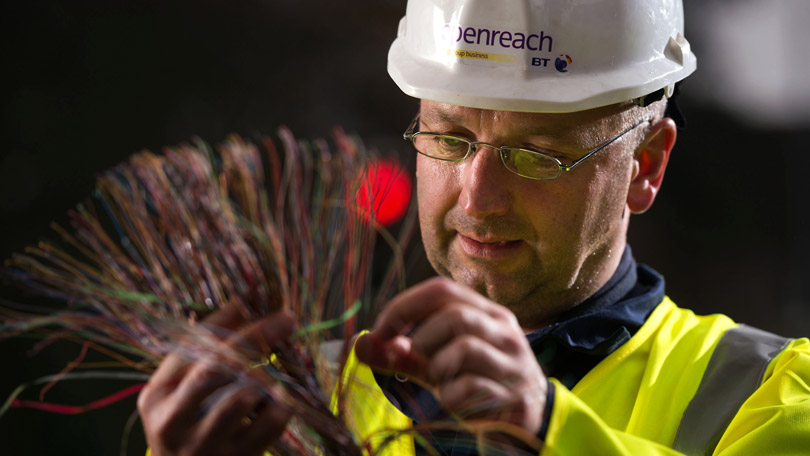 Openreach Engineer with cables
