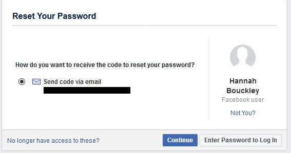 Facebook reset your password screenshot