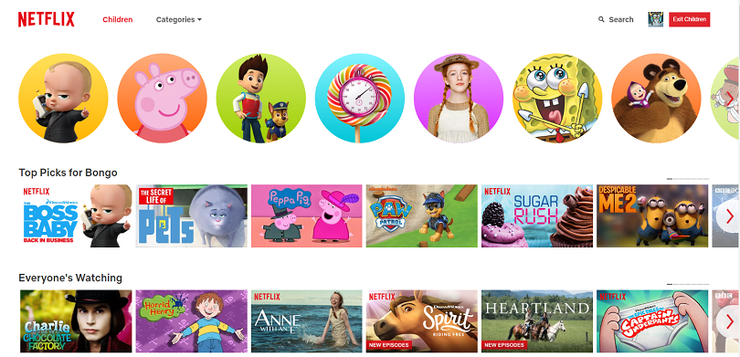 Netflix Children web view