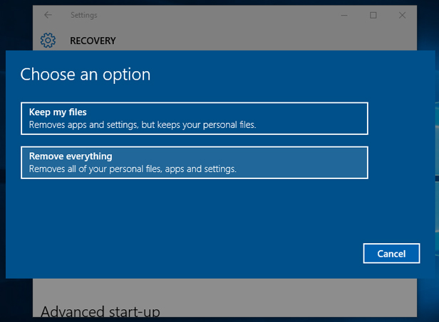 Windows 10 reset