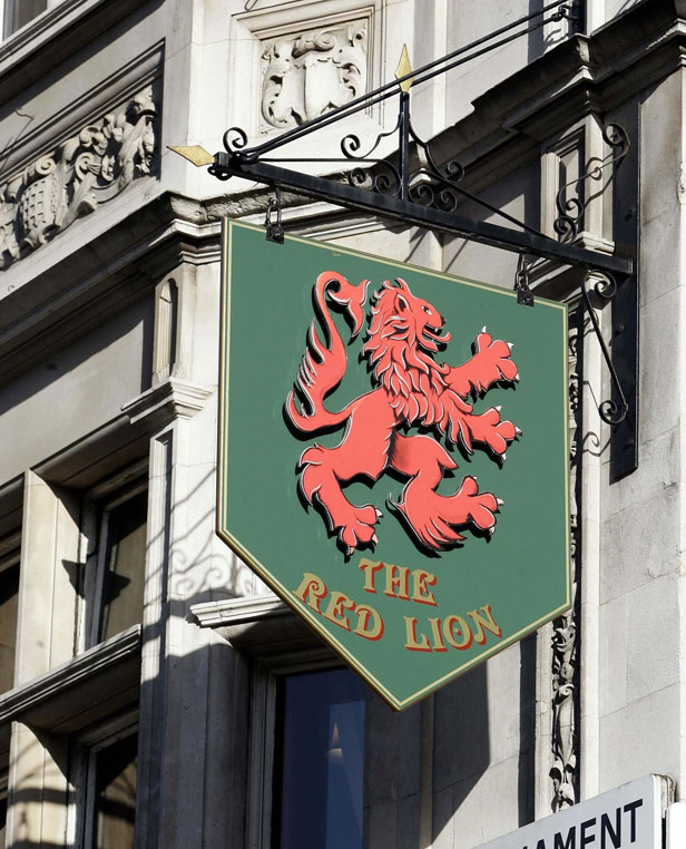 Red Lion pub sign in London.