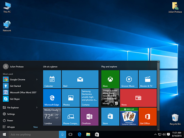 windows 10 restore start menu items