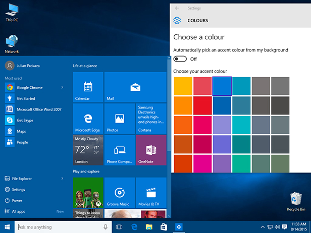 Change the Start menu colour