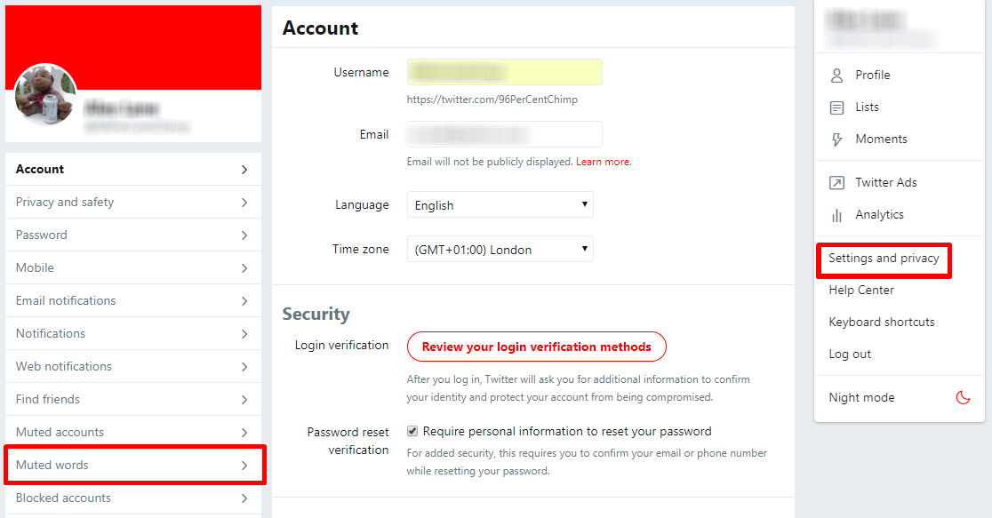 Twitter account settings for keyword muting