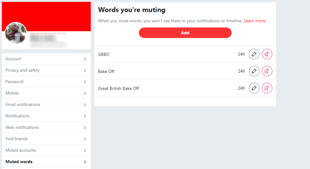 Twitter how to mute keywords