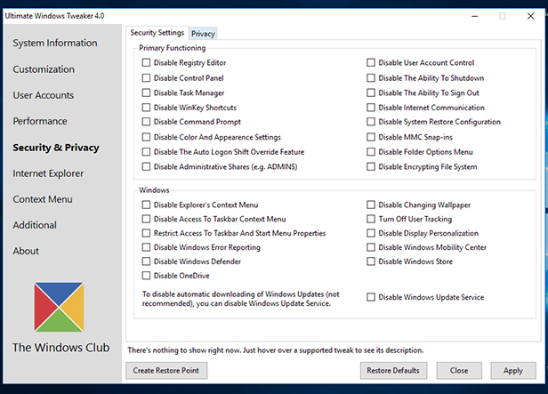 6. Select Security & Privacy options
