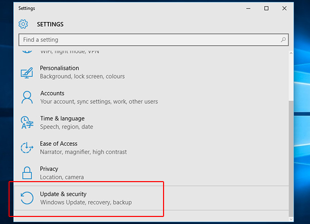 2. Open recovery settings