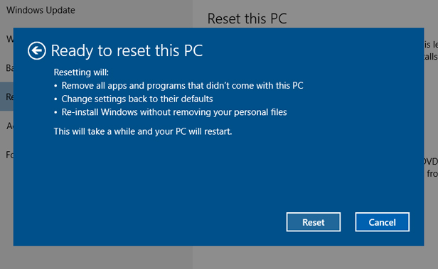 2. Reset Windows 10, but save your files