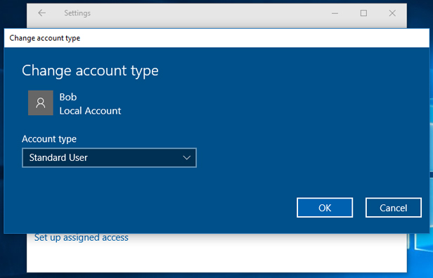 switch between administrator and standard accounts