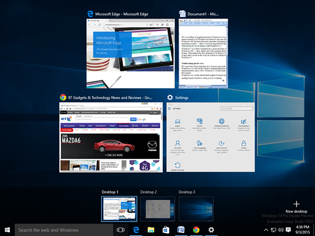 Windows 10 multiple desktops