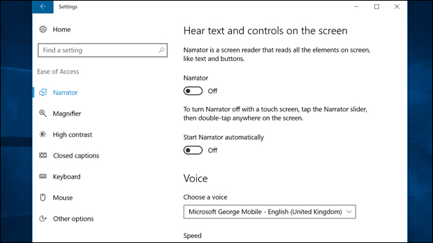 Windows 10 Ease of Access: Narrator