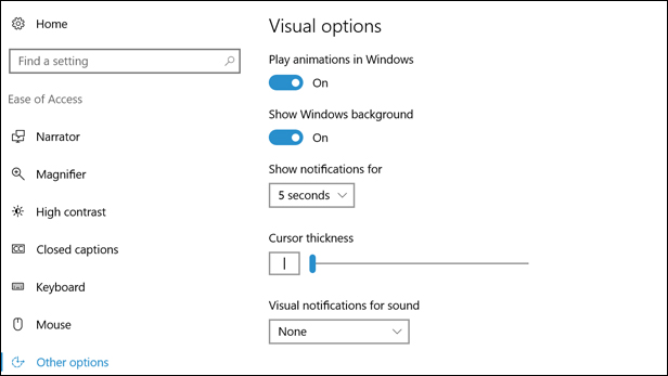 Windows 10 Ease of Access: Enlarge the cursor