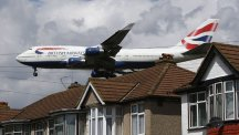 A British Airways Boeing 747 comes in to land at London's Heathrow Airport