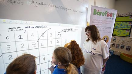 Cadoxton Primary School pupils take part in a class for the Barefoot Computing launch