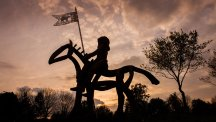 A silhouetted statue of a knight on horseback graces the Roundabout of the Year 2014 winner in Tewkesbury, Gloucestershire.