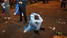 A 'Yes' supporter absorbs the news im George Square, Glasgow
