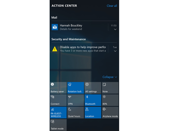 The Action Center in Windows 10