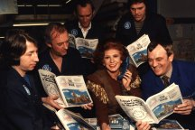 Actress Pat Phoenix promoting the launch of the new style phone book. 1984.