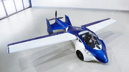 Blue and white flying car