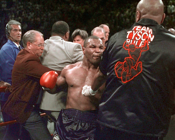 Mike Tyson continues to battle in the ring after his fight against Evander Holyfield was stopped.