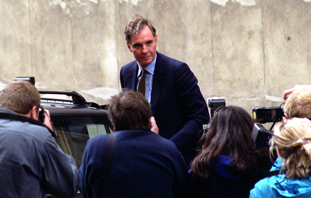 Jonathan Aitken arrives at the Old Bailey in 1999 to be sentenced for perjury.