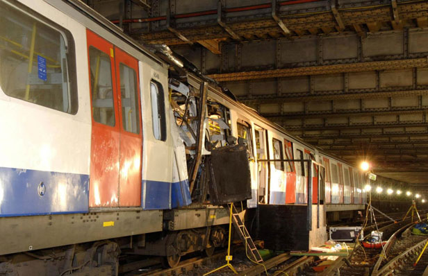 Damage to the the London Underground train bombed at Aldgate tube station.