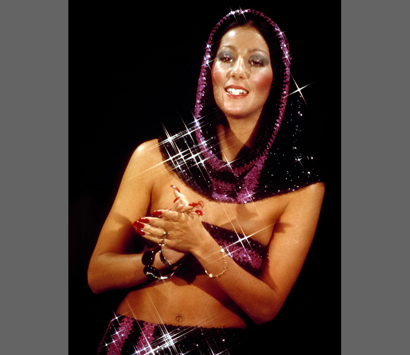 All that glitters! Cher sparkles in the 70s.
