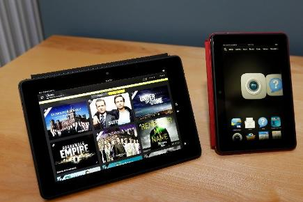 The 8.9-inch Amazon Kindle HDX tablet and the 7-inch Amazon Kindle HDX (AP/Ted S Warren)
