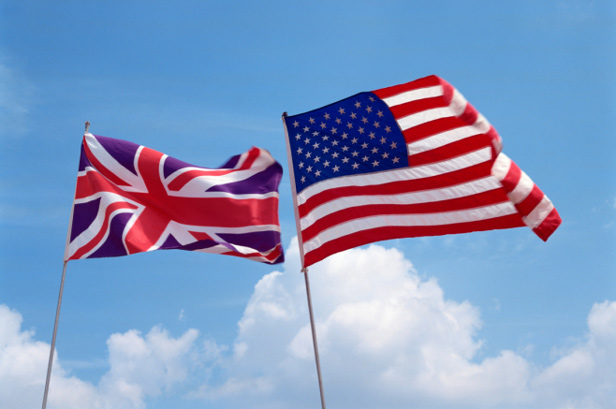 American and British flags flying