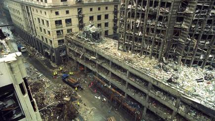 An IRA bomb destroyed the Hong Kong and Shanghai Bank in the City of London.