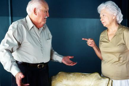 An older couple arguing