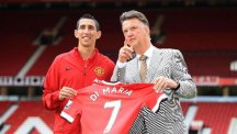 Angel Di Maria with his new manager Louis van Gaal at Old Trafford.