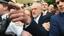 Labour Party leader Jeremy Corbyn leaves his home in north London, after he promoted key allies as the revolt against his leadership of the Labour Party continued