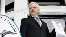 Julian Assange speaks from the balcony of the Ecuadorian Embassy in London