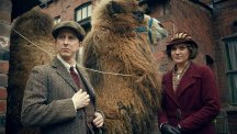 Lee Ingleby and Liz White star opposite a camel in Our Zoo