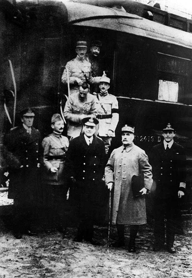 Marshal Foch (second right) and Allied officials outside the railway carriage