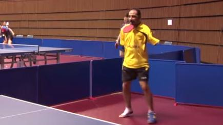 Armless table tennis star takes on the pros