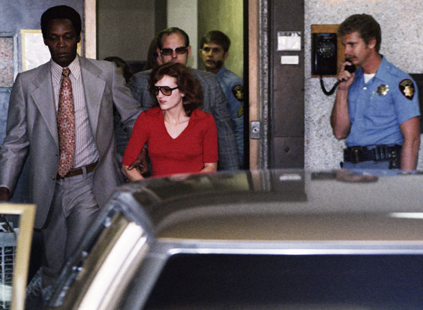 Hearst leaving San Mateo County jail in Redwood City, California following her arrest in September 1975.