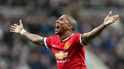 Ashley Young celebrates