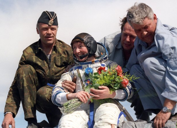 Helen Sharman, safely back to Earth in Kazahkstan on May 26, 1991.