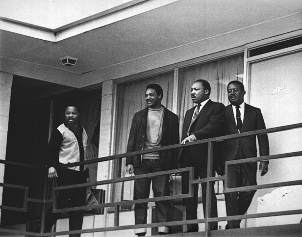 King (third from left) with (left to right) Hosea Williams, Jesse Jackson and Ralph Abernathy pictured on the balcony of the Lorraine Motel in Memphis, 24 hours before he was shot on the same spot.