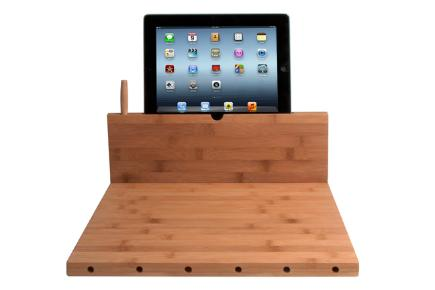 Bamboo Cutting Board with iPad holder