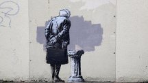 A Banksy work has been removed from Folkestone and taken across the Atlantic