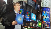 Bill Gates in Times Square with Windows XP box