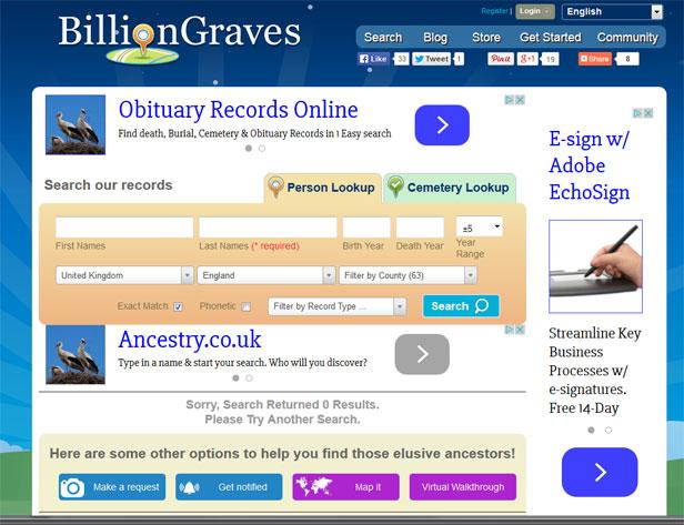 Billion Graves website