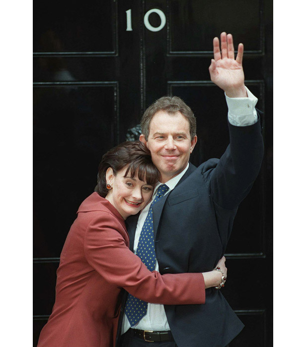 Tony Blair is hugged by wife Cherie outside No.10 Downing Street.