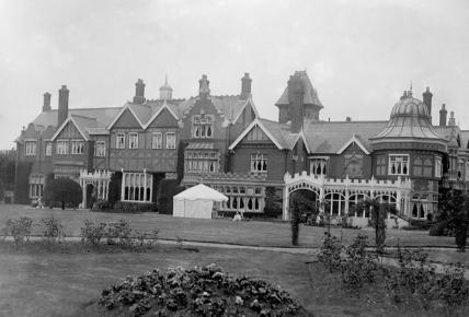 Bletchley Park black and white photo