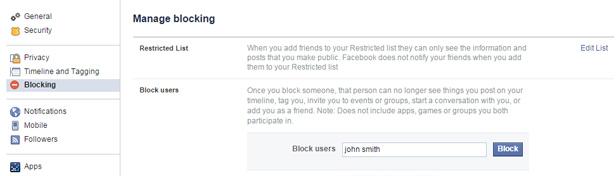 Facebook blocking