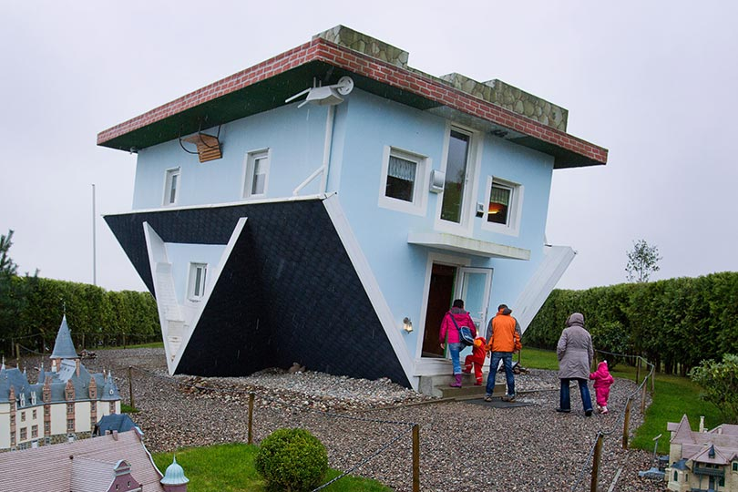 Trassenheide Germany  City pictures : Blue upside down house in Trassenheide, Germany